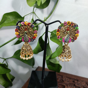 Multicolored Fanning Peacock Jhumkas ES801 | Sunu's Fashions