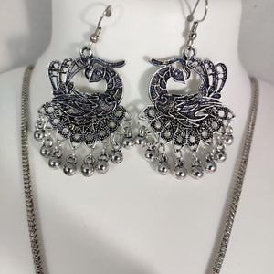 Oxidised Silver Layered Peacock Pendant Set NKC328 | Sunu's Fashions