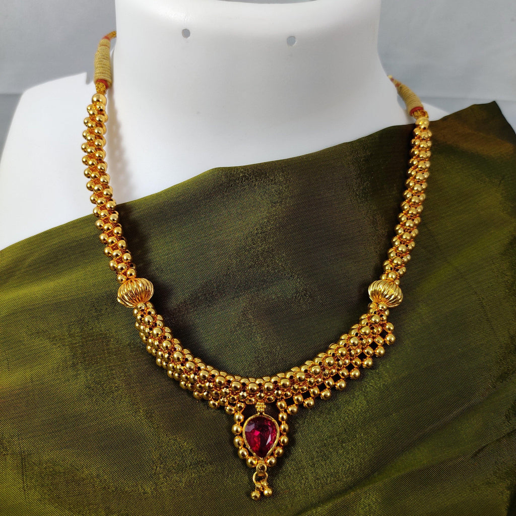 Gold Beaded Necklace With Ruby Stone Pendant NKC348 | Sunu's Fashions