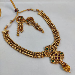 Antique Gold Beaded Choker Necklace NKC345 | Sunu's Fashions
