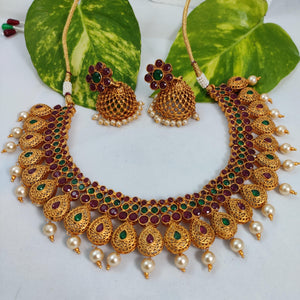 Antique Gold Majestic Choker Necklace NKC295 | Sunu's Fashions