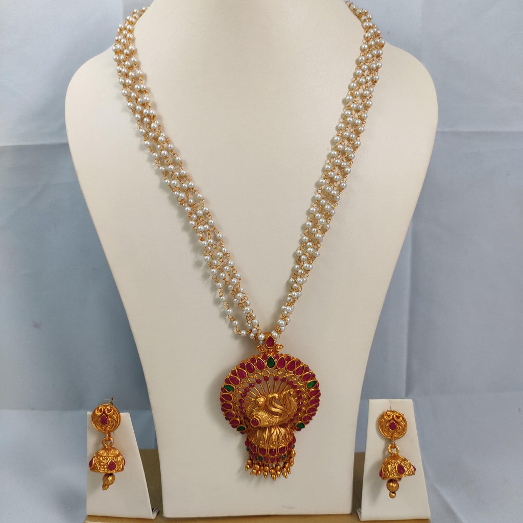Triple Layer Beaded Pendant Set NKC342 | Sunu's Fashions