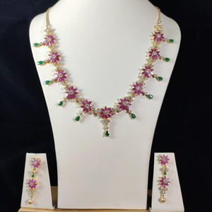 Ruby Floral Choker Necklace Set NKC359 | Sunu's Fashions