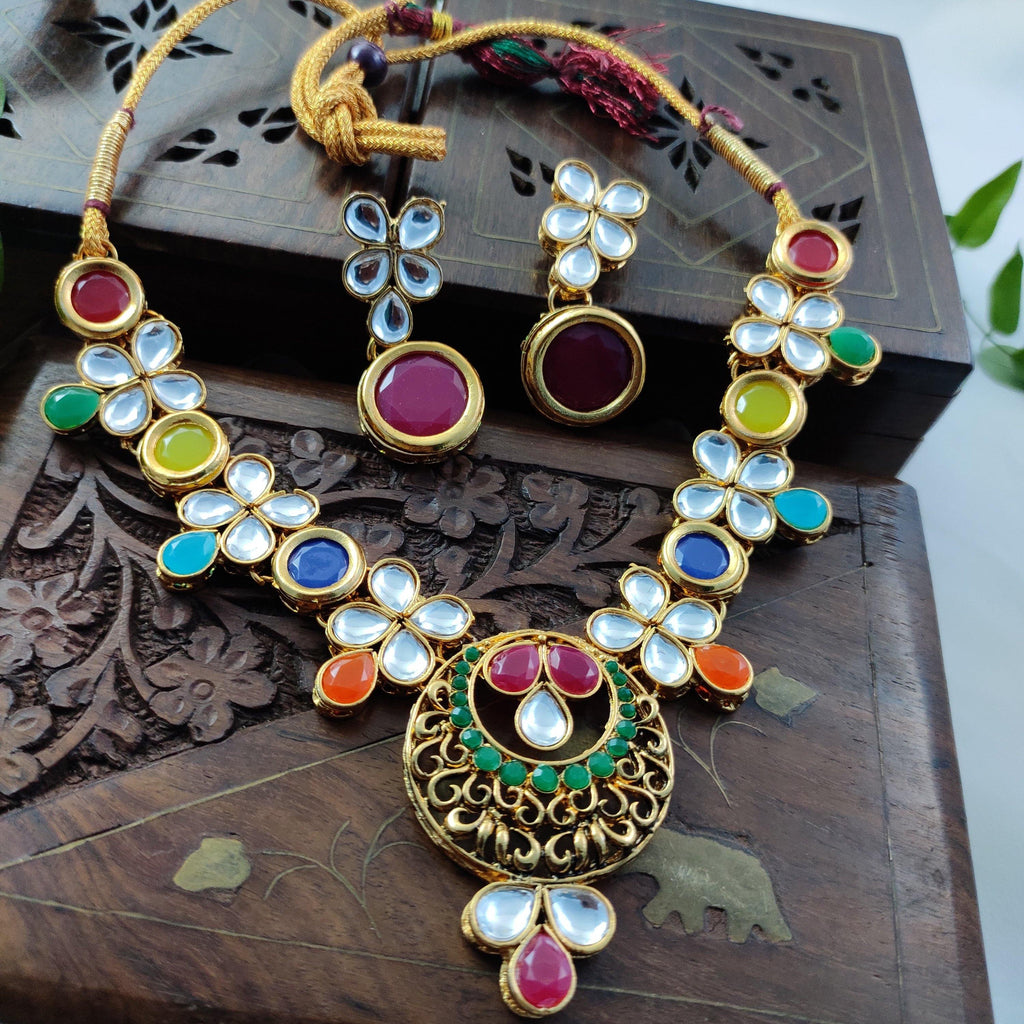 Multicolored Kundan Stone Necklace NKC357 | Sunu's Fashions