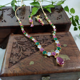 Multicolored AD Stone Studded Necklace NKC355 | Sunu's Fashions