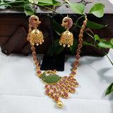 Heavy Peacock Pendant Stone Studded Necklace NKC354 | Sunu's Fashions