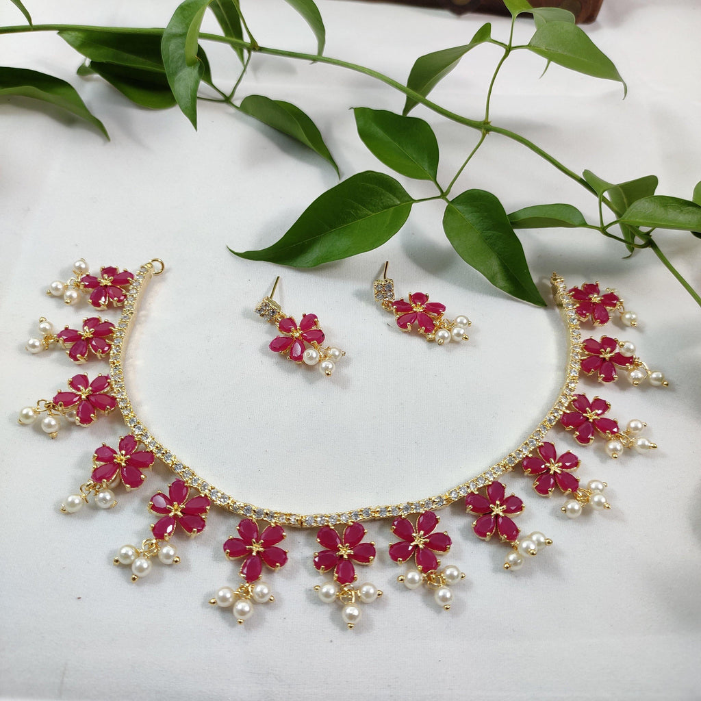 Ruby Pink Floral AD Stone Princess Necklace NKC352 | Sunu's Fashions