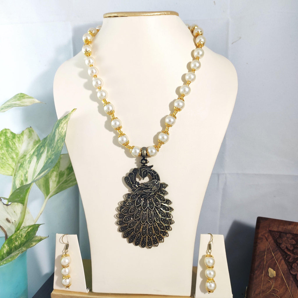 White Coral Beads peacock Necklace NKC157 | Sunu's Fashions