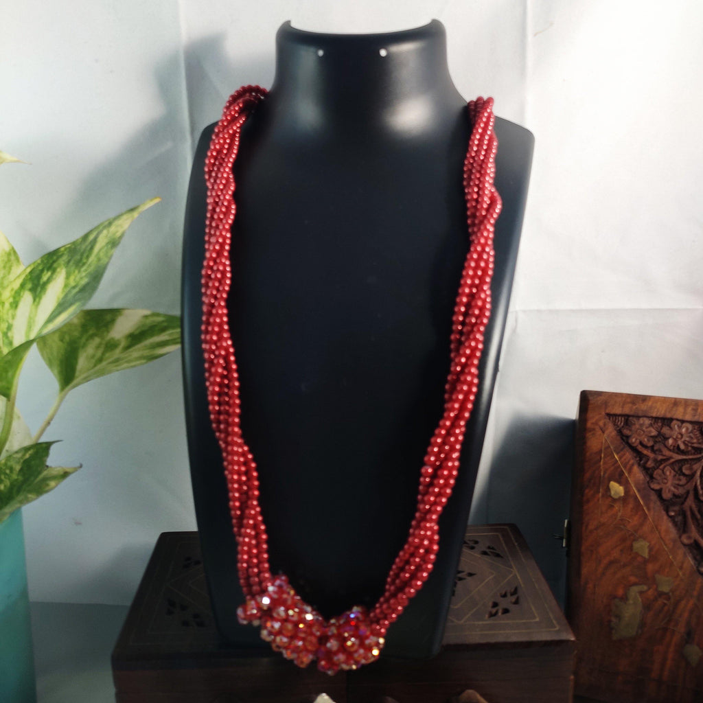 Multilayered Red Beaded Long Chunky Necklace NKC363 | Sunu's Fashions