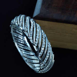 White Stone Studded Silver Bangle  B63 | Sunu's Fashions