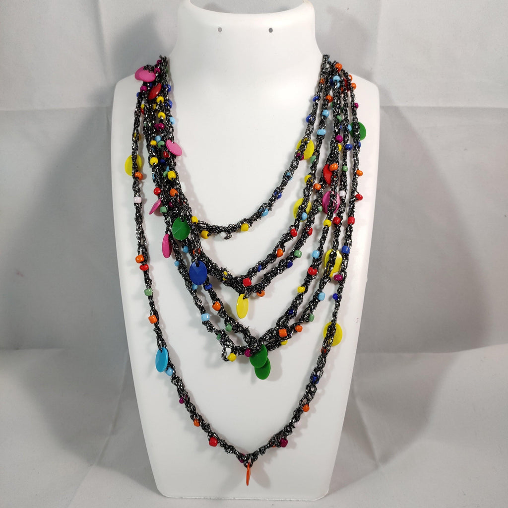 Multicolored Thread Opera Necklace NKC367 | Sunu's Fashions