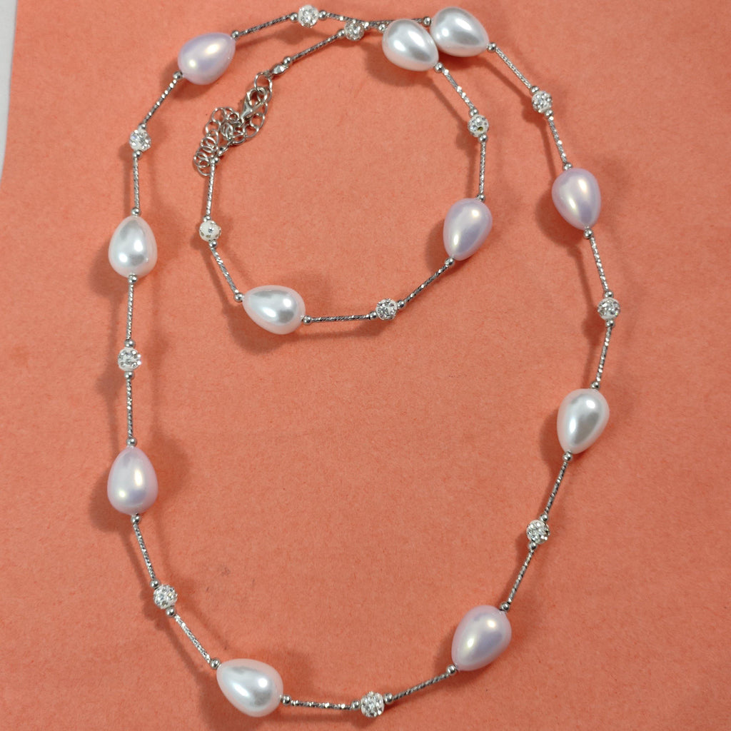 White Beaded Long Necklace  NKC379 | Sunu's Fashions