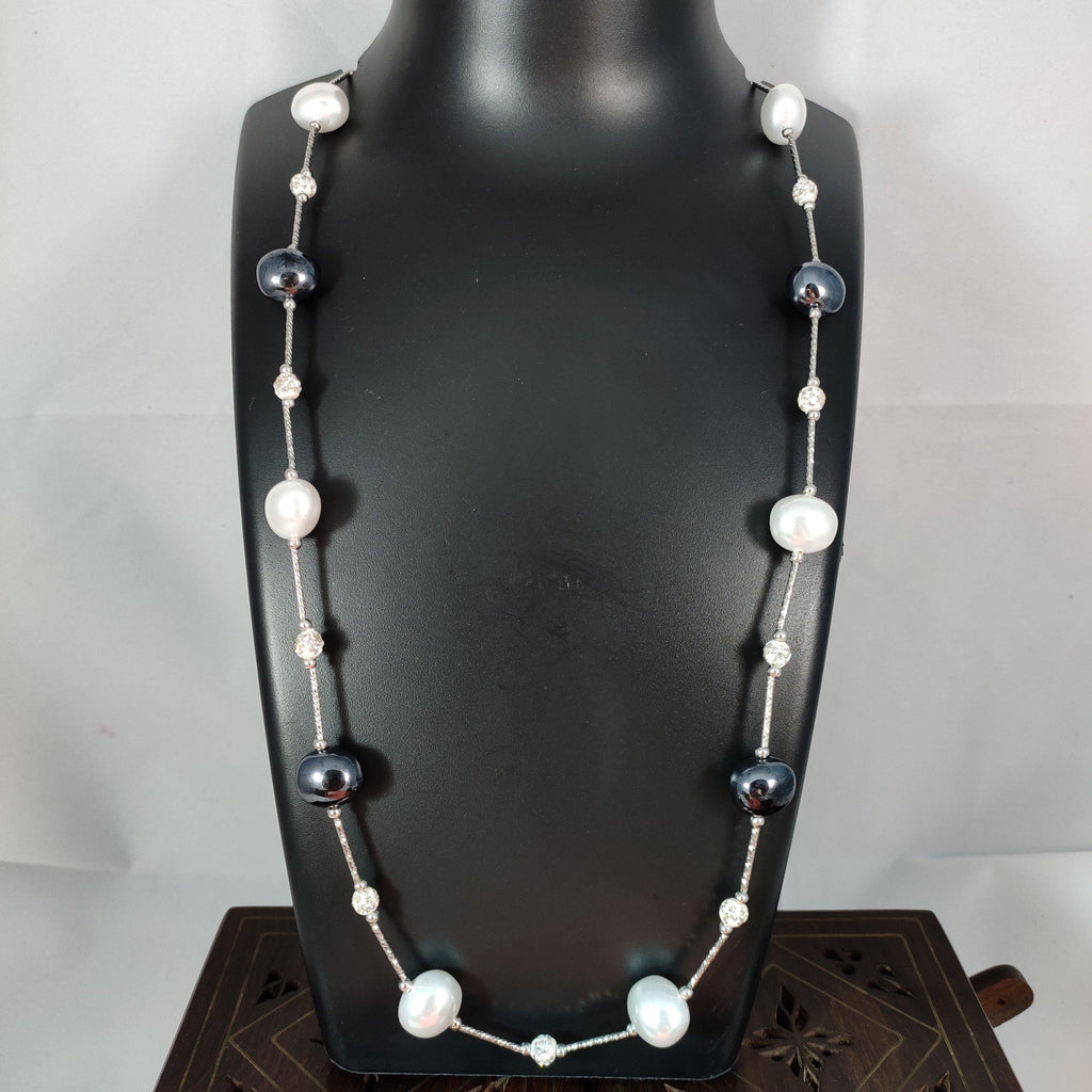 Black And White Long Beaded Necklace NKC378 | Sunu's Fashions