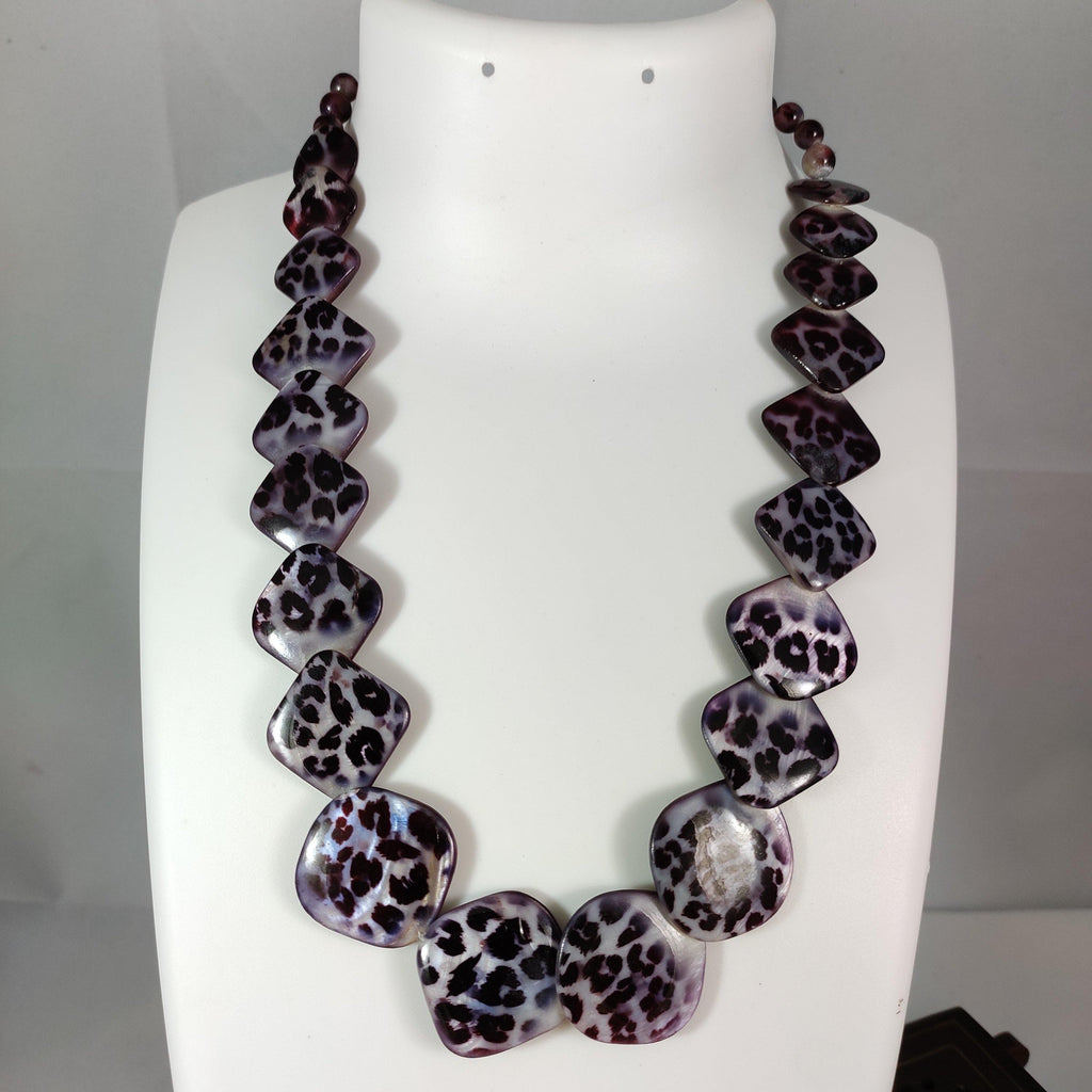 Black Ane White Leoperd Print Beads Necklace NKC376 | Sunu's Fashions