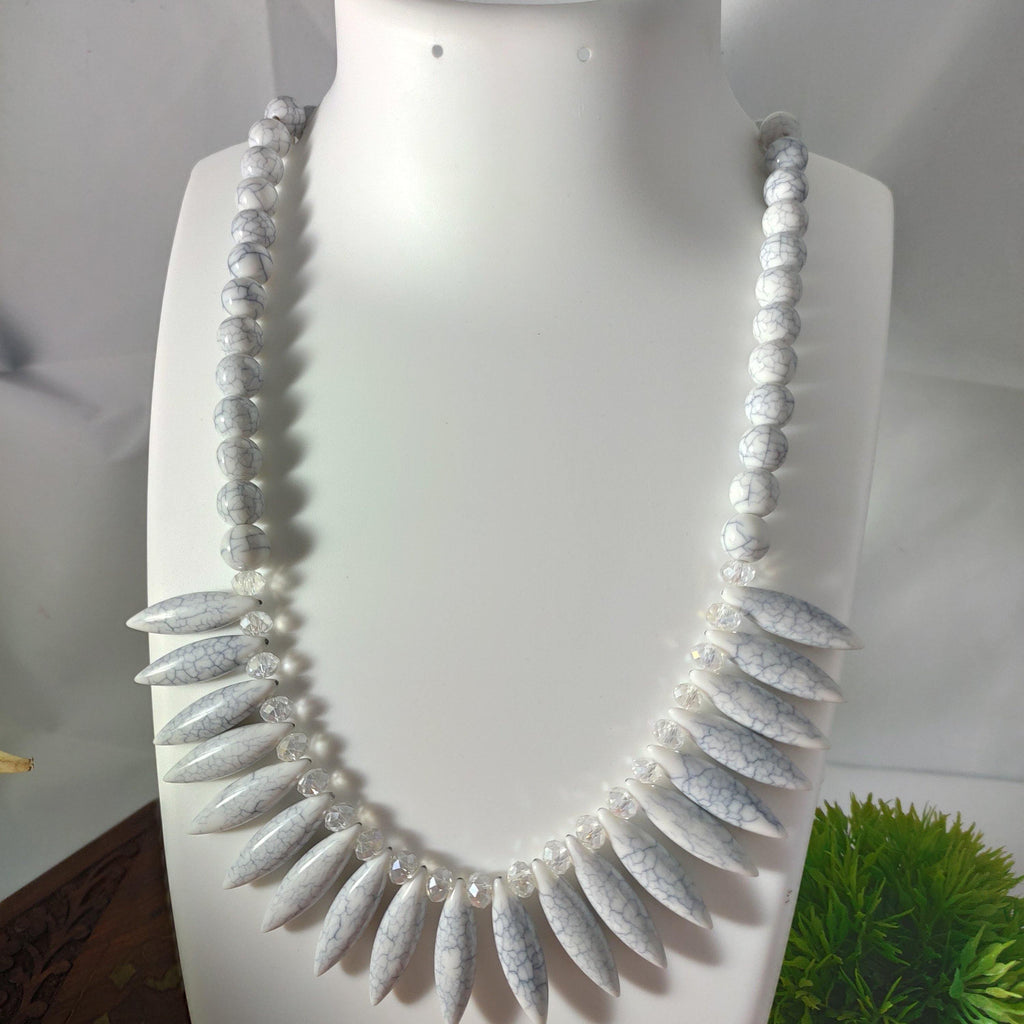 White spikes Beaded Bib Necklace  NKC371 | Sunu's Fashions