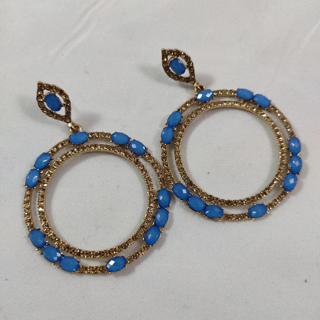 Skyblue Round Drop Earrings ES825 | Sunu's Fashions