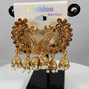 Triple Jhumkas Peacock Stud Earrings ES823 | Sunu's Fashions