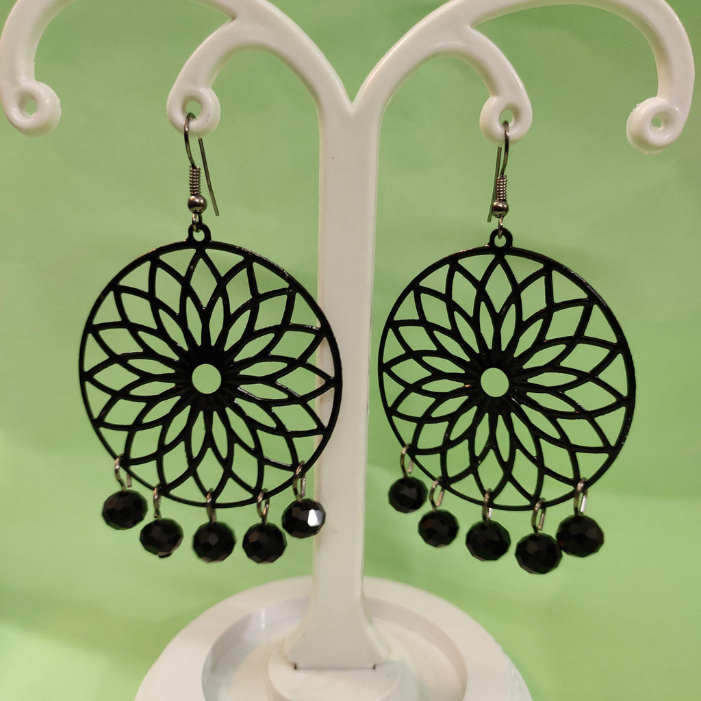 Black floral Metal Earrings ES855 | Sunu's Fashions