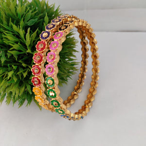 Multicolored Floral Bangle Set  B77 | Sunu's Fashions