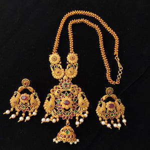 Antique Floral Pendant Necklace Set NKC317 | Sunu's Fashions