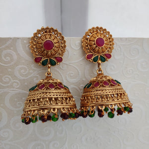 Multi Stone Studded Antique jhumka ES835 | Sunu's Fashions