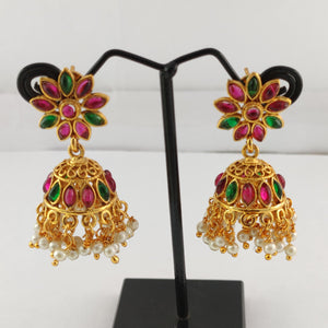 Multi Stone Studded Antique Jhumka ES836 | Sunu's Fashions
