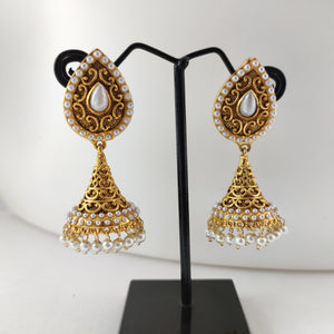 White Beaded Antique Jhumka ES839 | Sunu's Fashions