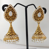White Beaded Antique Jhumka ES839