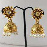Floral Top Antique jhumkas ES840