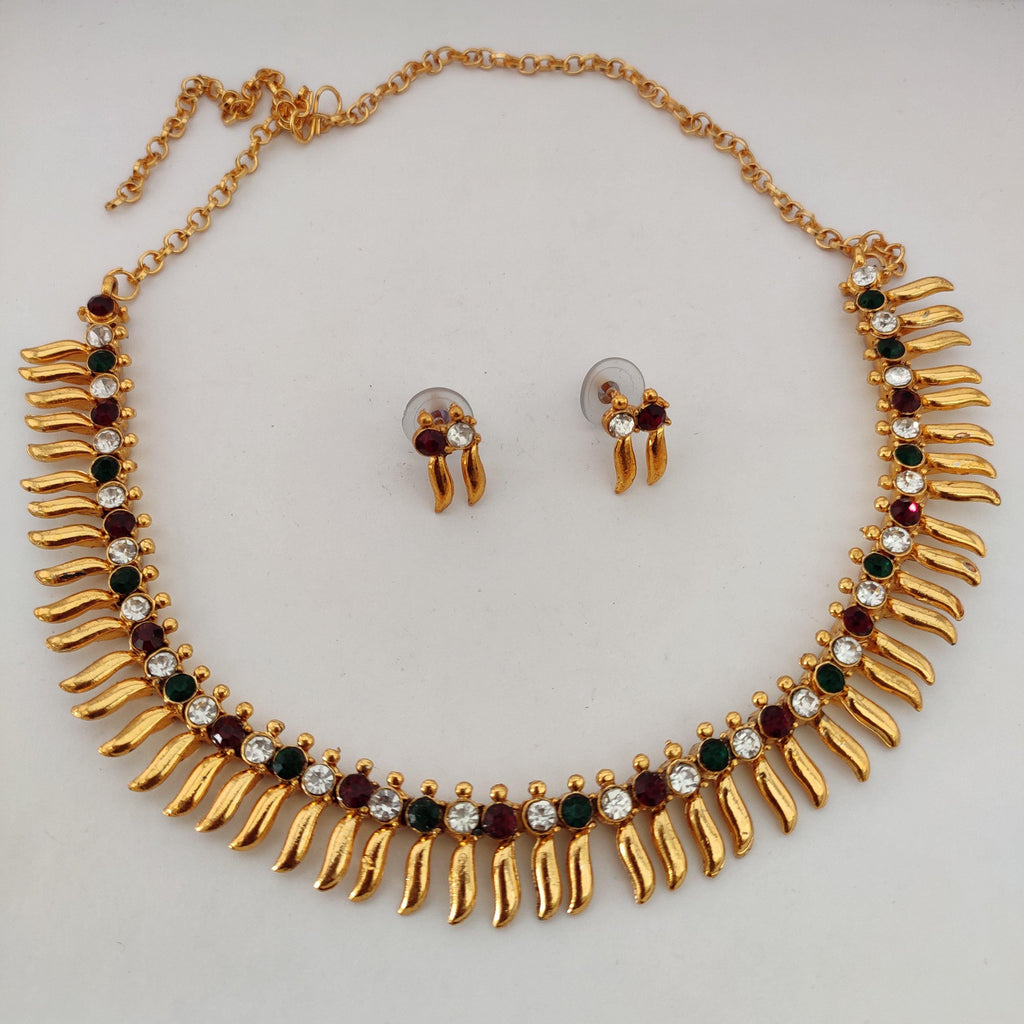 Multi Stone Studded Spikes Necklace NKC405 | Sunu's Fashions