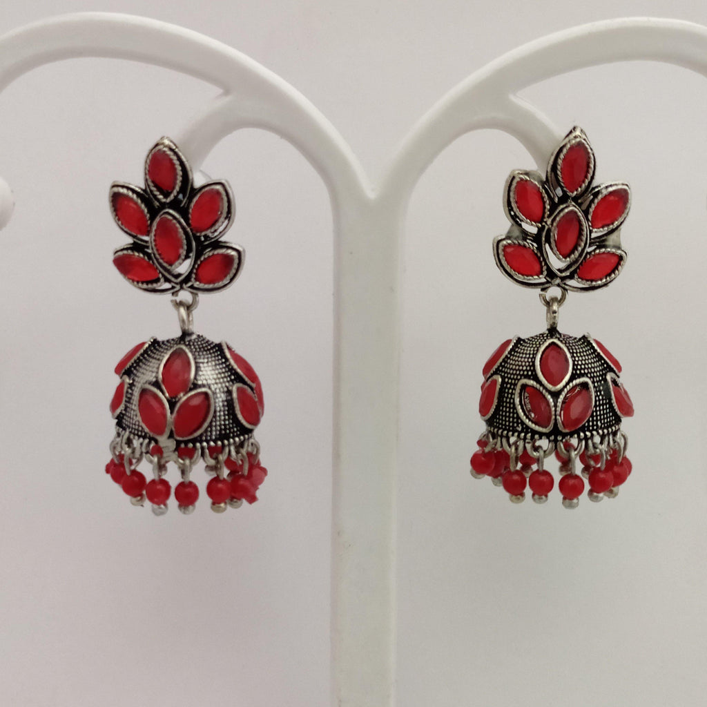Red Stone Studded Oxidized jhumkas ES849 | Sunu's Fashions