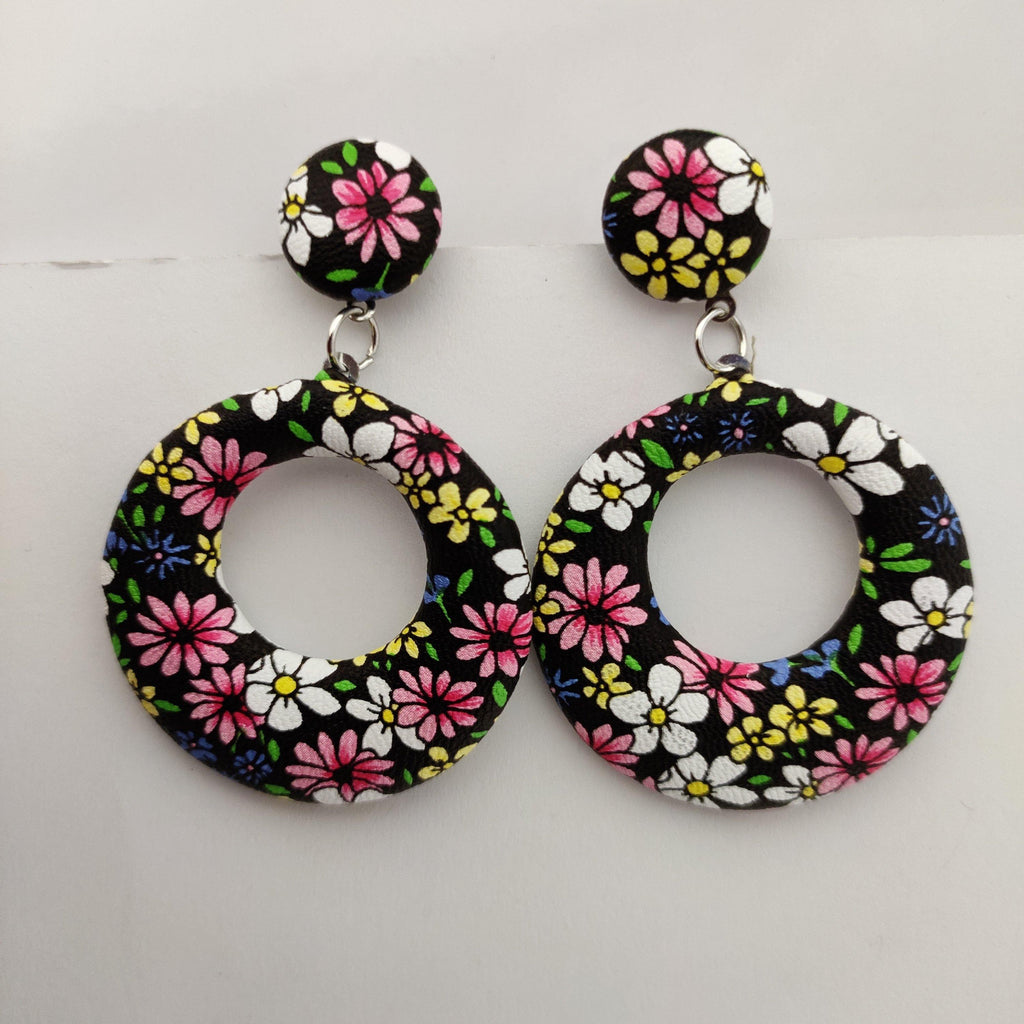 Floral Printed Round Drop Earrings ES874 | Sunu's Fashions
