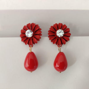 Red Floral Drop Earrings ES864 | Sunu's Fashions