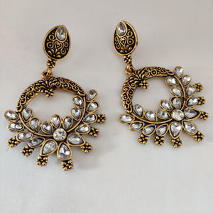 White Stone Statement Danglers ES866 | Sunu's Fashions