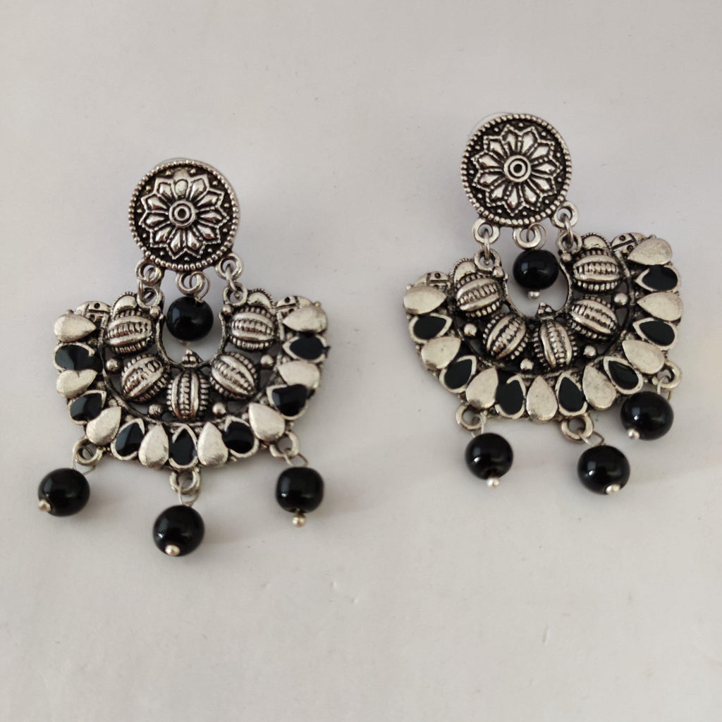 Black and Silver Statement Earrings ES868 | Sunu's Fashions