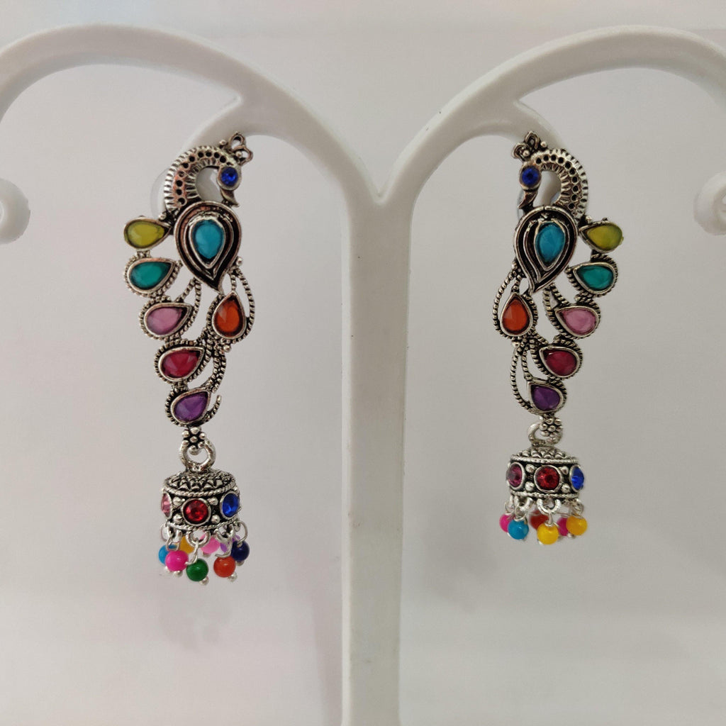 Multistonned Peacock Jhumka Earrings ES862 | Sunu's Fashions