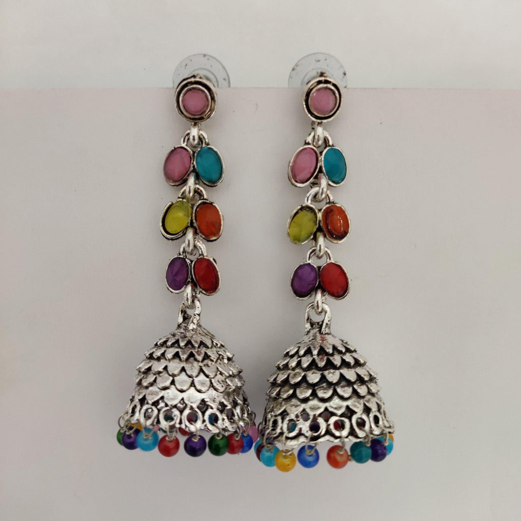 Multicolored Stone Studded jhumkas ES859 | Sunu's Fashions