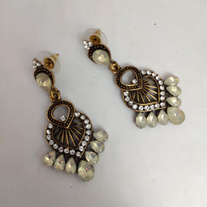 White Stone Statement Earrings ES858 | Sunu's Fashions