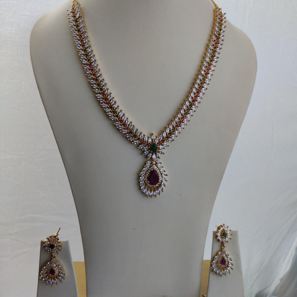 Gorgeous White AD Stone Heavy Necklace NKC358 | Sunu's Fashions