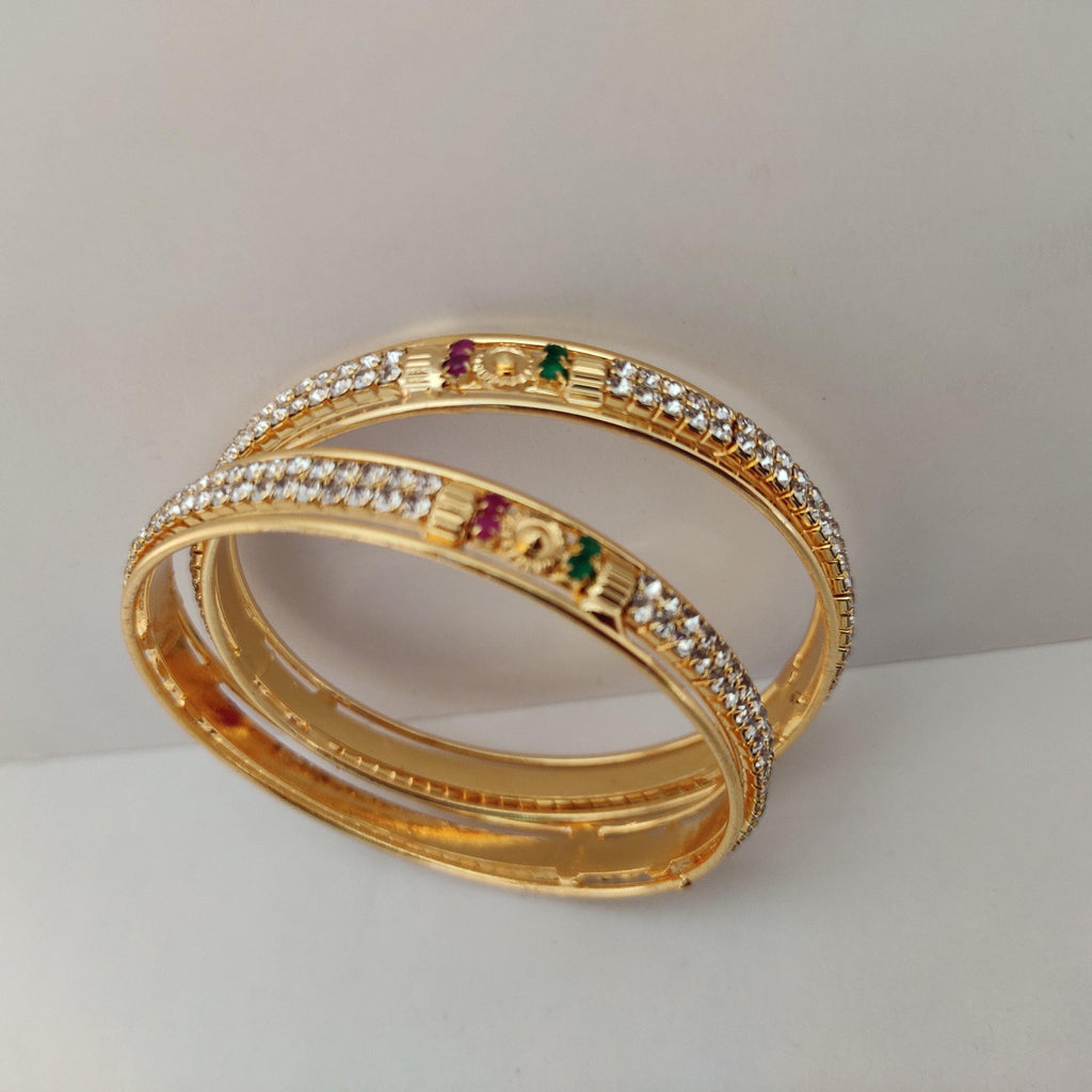 White Stones Golden Twin Bangles B100 | Sunu's Fashions