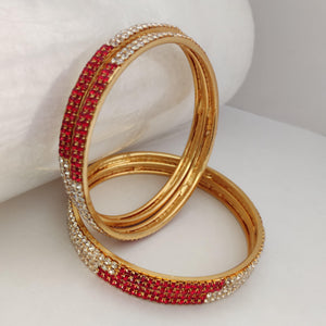 Classic Red And White Stone Bangle Set B98 | Sunu's Fashions