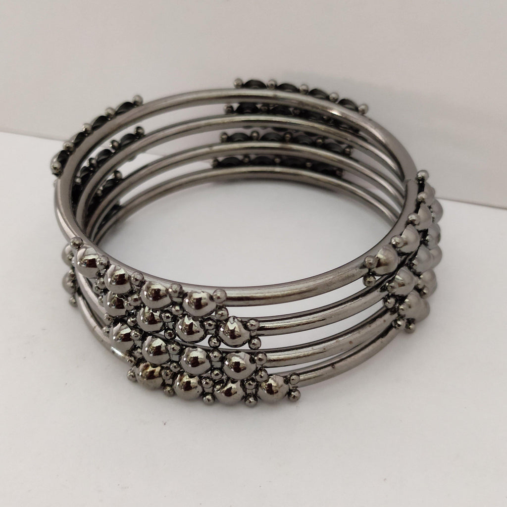 Trendy Metallic Black Bangle Set B87 | Sunu's Fashions