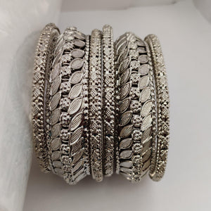 Antique Silver Bangle Set B92 | Sunu's Fashions