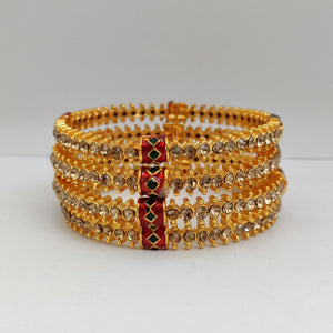 White Stone Bangle Set B110 | Sunu's Fashions