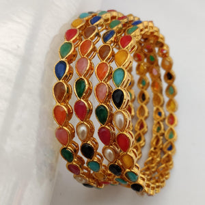 Multicolored Stones Bangle Set B109 | Sunu's Fashions