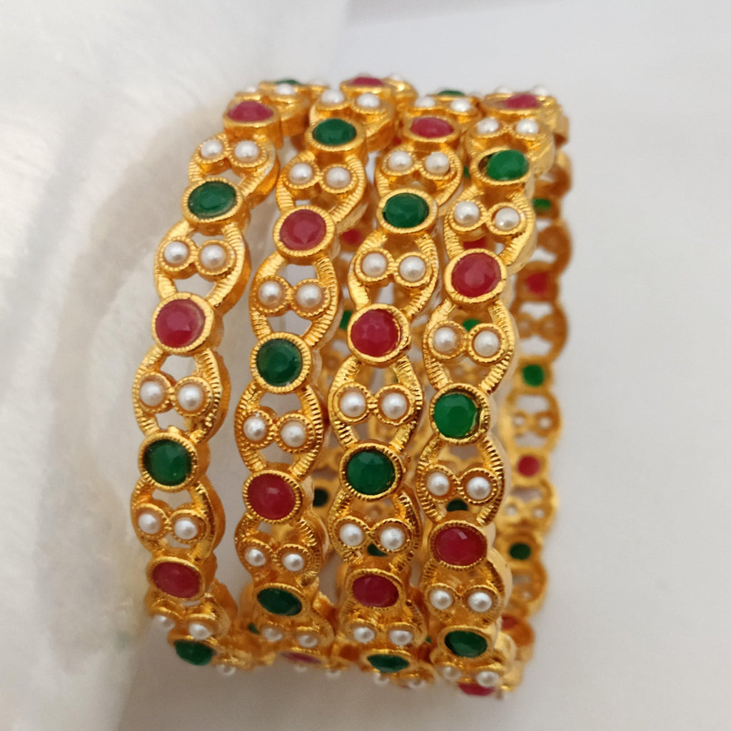 Multicolored Stone Bangle Set B115 | Sunu's Fashions