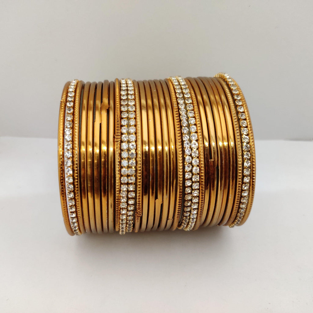 Elegant Golden Plain Metal Bangle Set B105 | Sunu's Fashions