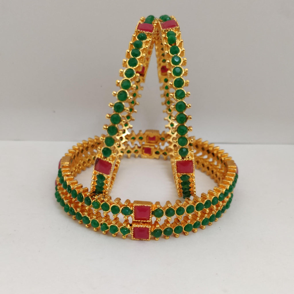 Classic Green Stone Bangle Set B113 | Sunu's Fashions