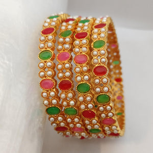 Multicolored Stone Bangle Set B112 | Sunu's Fashions