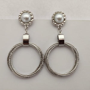Silver Concentric Circles Drop Earrings ES879 | Sunu's Fashions